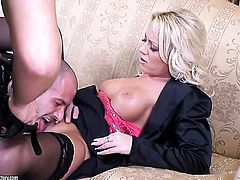 Blonde kitty Sarah Simon with giant jugs gives pleasure to herself with dildo