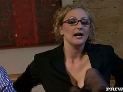Sexy blondie milf Nicole gets her ass and vagina fucked really nice by her new colleague in their hotel room outside the city.