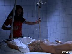 Sexy Celia Jones is dressed as nurse in hospital is having sex with one of the patients who was not expecting such a service from nurse. She is taking off her uniform and shows her sexy boobs and yummy vagina and gets fucked hard.