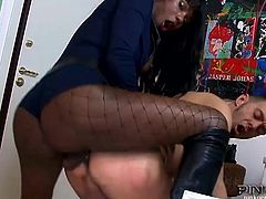 Watch the vicious ebony Shemale police officer Deborah barebacking a perp's ass balls deep into a massive anal orgasm. She looks very perverse in those black fishnet stockings.