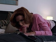 Lovely big tittied MILF Veronica Avluv works on big cock with her mouth