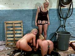 Two awesome blondes get tortured by nasty dominatrix Lorelei Lee