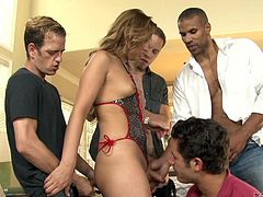 Because miss Hart is such a fucking slut and she needs more, then one hard cock to be fully satisfied, these boys joined in, and helped her with that. They surrounded her with their hard cocks and now, the hot tranny is being filled up! She kneels and jerks them, while sucking as many dicks, as she can.