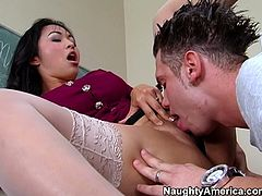 Sultry Asian mistress Mika tan is a teacher. She literally orders her bad student lick her hairy sweaty cunt for an A+. Mean bitch gets horny and starts sucking his big juicy cock.