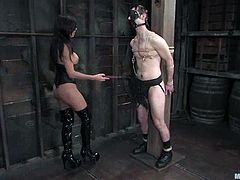 A lucky dude called Nomad is having fun with sexy babe Shy Love. He lets the cutie tie him up and beat him with a lash and then enjoys the way she plays with his dick.