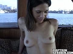 Skinny brunette Gia is having fun with some dude in a yacht. They pet each other passionately and then fuck in cowgirl and some other positions.