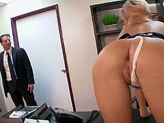Victoria White was at the office when she started to touch herself. A guy went it and saw her, so she ended up getting her pussy pounded really good and her tits covered in cum.