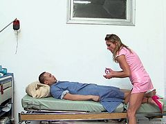 Tired looking mature nurse gives skillful blowjob to hard tiny cock in pov