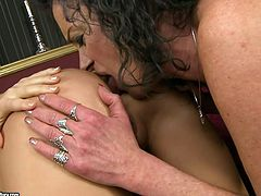 Torrid blonde wench stands on her all four lifting her ass up in the air. Curly mature woman inserts two fingers in both fuck holes moving in and out actively.