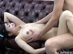 Naughty Asian girl takes her swimsuit off and then gets toyed with a vibrator. After that she sucks the guy off and gets fucked.