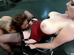 Slim girl gets spanked painfully by her redhead mistress. Then she gets her tight ass and pussy toyed. She also gets her tits tortured with claws.