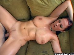 A slutty-ass fuckin' whore sucks on a hard cock and then gets it shoved balls deep into her fucking gash. Check it out right here!