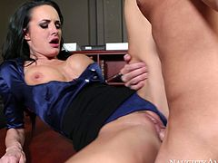 Saucy business lady Alektra Blue gets banged in office by Daniel Hunter