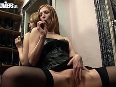Giulietta Canale is dusting the motorcycle helmets off before she closes up for the day. To her surprise, she finds a dildo hidden inside one. She gets horny at this discovery and masturbates herself in one of the change rooms. Hope no one catches her doing this or else she will get in trouble!