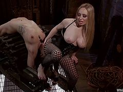 Lustful blonde mistress Aiden Starr is getting naughty with charming brunette Bianca Stone. Aiden binds Bianca and humiliates her and then drills her vag with a dildo.