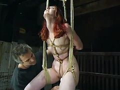 This is an act of sadism with a desirable redhead siren Kendra James. Babe gets suspended with her boobs twitched. Real amazing fetish and BDSM to watch!