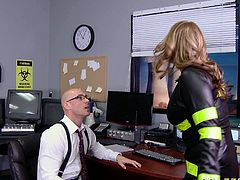 Bold guy wth his large cock fucked a tight pussy of his secretary