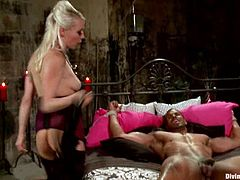 Lorelei Lee the horny mistress gets her pussy licked by Robert Axel. Then she toys his ass with a strap-on and sucks his big black cock.