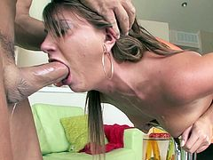 Hot gal deepthroats a massive dick during wild and insolent POV action