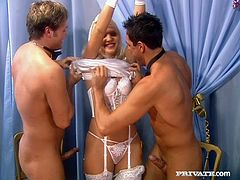 Hussy jade has finally become a bride. But she won't change her attitude to sex. So she sucks two dicks having filthy MMF threesome right at her wedding party.