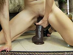 Kinky young chick tries to satisfy her stretched pussy in solo. She spreads legs over her head and fucks pussy. Watch steamy solo XXX video featuring insatiable young brunette.