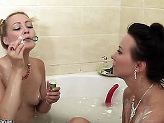 Blonde hoochie Devora and Alysa Gap scream and shout in lesbian ecstasy