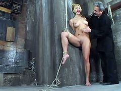 The blonde Jenni Lee is going to be dominated today, tied up, tortured a little bit and toyed in this bondage session.