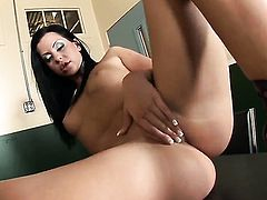 Larissa Dee with clean snatch has a lot of sexual energy to spend and does it alone!