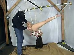 This brunette is a well sexperienced slave. She can stand anything about BDSM and fetish fantasies. This time honey is being hogtied and suspended!