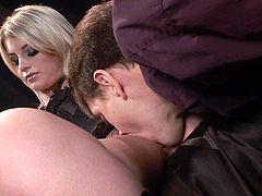 Adorable blonde Lacie Heart pleases some guy with a nice blowjob. Then they fuck in cowgirl position and doggy style and the dude uses Lacie's face as a cum target.