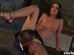This smoking hot and sizzling siren Claudia Rossi is so fucking naughty! She gets naked and makes this dude feel good with her mouth and her asshole!