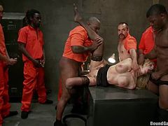 This delicious blond siren Samantha Sin is a head of this prison and the prisoners do everything she tells them. Time by time she tells them fuck her hard!
