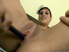 Brunette bushbitch gives a deep blowjob to skinny sturdy penis