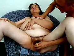 Lewd brunette granny Tanya allows some horny man to fuck her hairy cunt from behind. Then she moves her legs wide apart and beg the dude to fuck her snatch with a dildo.