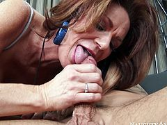 Brunette mom with giant fake rack and thick bouncy booty gives head to Derrick before taking his big prick for a an amazing pussy ride.
