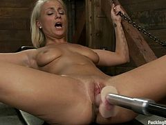Hot slut Lexi Swallow is playing with a fucking machine. She pleases herself with fingering and then gets her cunt smashed by the sex machine.