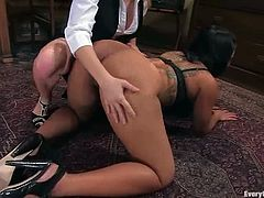 These two smoking hot and juicy babes love getting a bit dirty with each other. They get naked right during the office hours and Aiden starts clystering Dragon Lily!