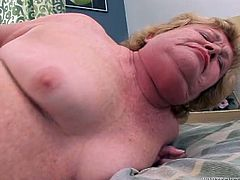 Fat ugly harlot gets her puffy snatch rammed by young dude