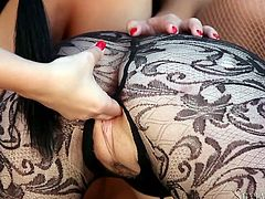 Don't skip this exciting foot fetish sex tube video. Lustful and provocative red haired babe licks shoes gives rim job and sucks nipples of brunette sexploitress.