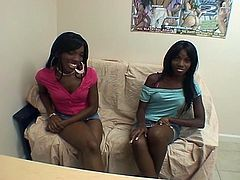 Ebony chyna and Marie casting call black lesbian audition, pussy licking clit sucking tit kissing make out finger bang.Watch Hot brunette Chyna and Marie Chantilly kissing and licking pussy each other, very good lesbian action.