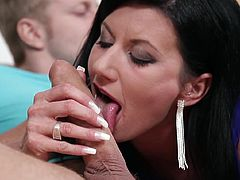 Sexy milf with big tits loves sucking young stalion's cock during rough hardcore