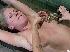 Dia Zerva gets bound and hung up by Princess Donna Dolore. Donna pulls the hussy by the nipples and then destroys her cunt with a dildo.