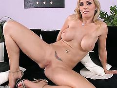 Blonde breathtaker Tanya Tate has some time to stroke her love hole
