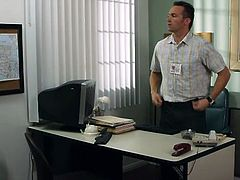 He's unpacking his things and prepares to work. While he does that, the guy has a flashback memory, but that belongs to the past. He then discovers a few wrong things in this brunette's report and does just like Scott did, solve the problem and fuck her hard. She proves she deserves a solution by bribing him with her pussy.
