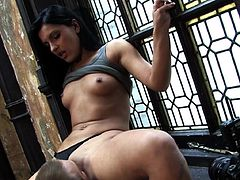 Brunette doll opens her legs to receive massive dick in amazing hardcore fuck show