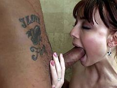 Slim Zoe Voss gives deep oral before having her pink pussy nailed hard and deep