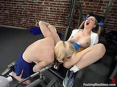Two smoking hot and wonderful blondies are having fun in this fantastic lesbian porn. Babes know how to utilize that fucking machine!