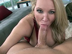 Alluring blonde with big boobs Rachel Love stimulates huge dick in POV style