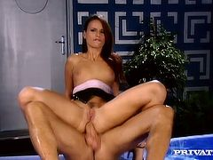 Mind-blowing beauty Claudia Rossi is getting drilled deep up her ass doggy style. The she gets on top of hard pecker riding intensively. Super hot anal fuck video presented by Private studio.