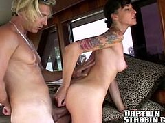 Skinny brunette girl sucks a dick and plays with her pussy. After that she gets fucked deep and hard by a crew member.